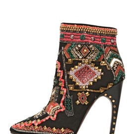 EMILIO PUCCI - 115MM SUEDE EMBROIDERED ANKLE BOOTS