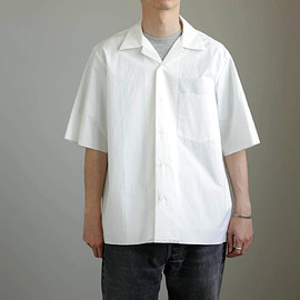 AURALEE - SELVEDGE WEATHER CLOTH OPEN COLLARED H/S SHIRTS #white