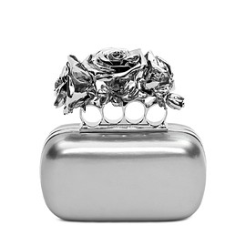 Alexander McQueen - FW2015 Silver Patent Knuckle Box Clutch