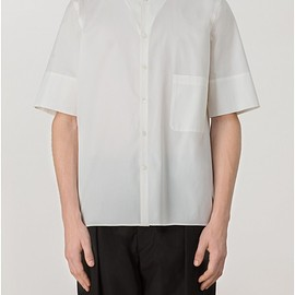 LEMAIRE - SHORT SLEEVED SHIRT COTTON POPLIN WOVEN IN PORTUGAL  CHALK