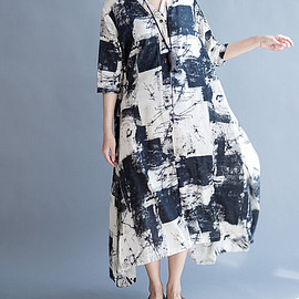 Loose long dress - Cotton and linen Loose Fitting Long Maxi Dress oversize Loose long dress Women Robe Gown