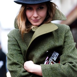 Great coat and hat.