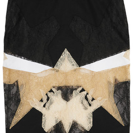 GIVENCHY - Black, white and beige patchwork lace skirt