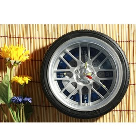hallomall - Personalized 10 Inch Automobile Tire Clock -Blue Dial Plate