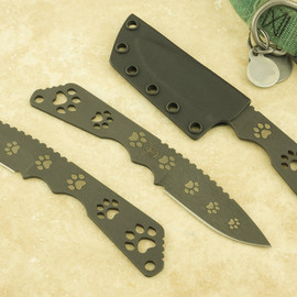 """Strider Knives - ED """"Drop Point"""" with Black Blade Dog Paw"""