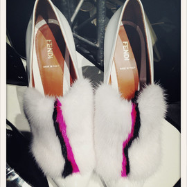 Fendi - White and hot pink fur shoes