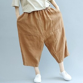 linen pants Women - deep khaki Oversized pants, linen pants, casual pants, Trousers for Women, Women 's daily pants