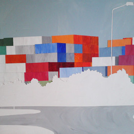 Eliza Southwood - Shipping Containers. Collage and acrylic. 80x59cm