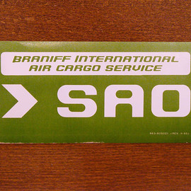 "BRANIFF INTERNATIONAL - luggage label ""SAO"""