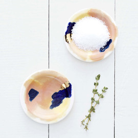 redravenstudios - Canyon Series: Bryce Hand Painted Porcelain Small Dipping Plates with 14K Gold Luster- Set of 4