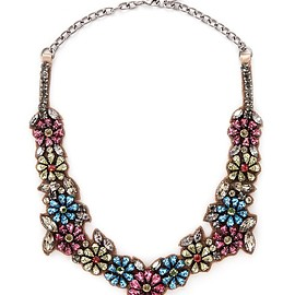 VALENTINO - Floral crystal satin necklace