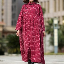 jujube red dress, - Women Maxi dress, Cotton jujube red dress, Maternity Clothing, Tunic dress