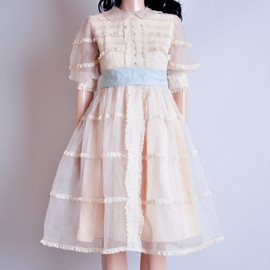 vintage cream sheer organza peter pan collar dress