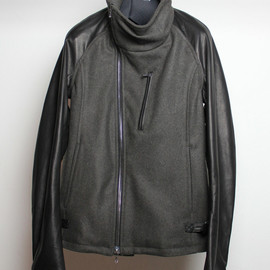 ATTACHMENT - Meltonmaterial withoiled leather rider's jacket