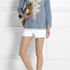 J.CREW - Soutache-embroidered chambray tunic