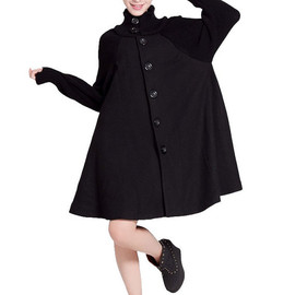 wool coat - Knitted sleeve wool cape coat (4 color)