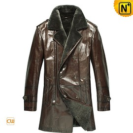 cwmalls - Nashville Shearling Leather Pea Coat CW868816