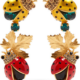 DOLCE&GABBANA - Gold-plated, crystal and enamel clip earrings