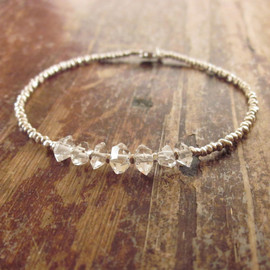 Herkimer Diamond Bracelet with Karen Hill Tribe Silver Beads