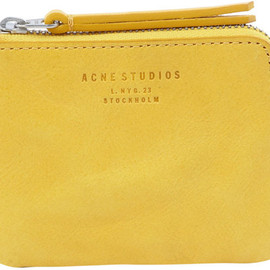 Acne - Acne Small Yellow Leather Zip Coin Pouch in Yellow - Lyst