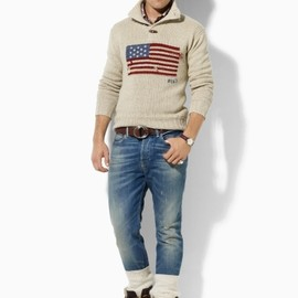 POLO RALPH LAUREN - Flag Button Mockneck Sweater - Polo Ralph Lauren Half-Zips - RalphLauren.com