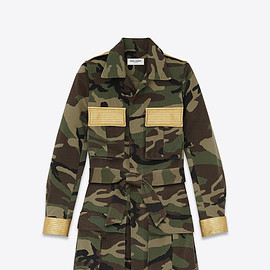 SAINT LAURENT - SS2015 Military Parka in Khaki Camouflage Printed Cotton Gabardine and Gold Metallic Leather