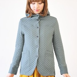 ARMEN - Cotton Quilted Hood Jacket (Shadow Blue)
