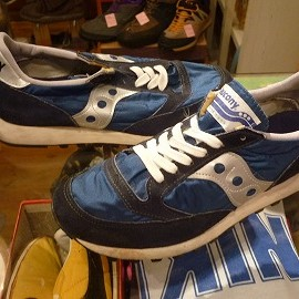 "SAUCONY - 「<used>80's SAUCONY JAZZ navy/silver""made in USA"" size:US7/h(25.5cm) 4800yen」完売"