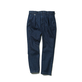SOPHNET. - STRETCH INDIGO 4 TUCK PANT (BIO WASHED)