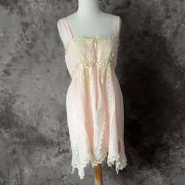1920s Chemise Silk Pink Teddy Lingerie Tatted Ivory Lace Ribbon Wedding 20s