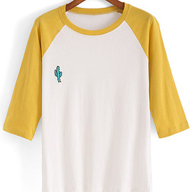 Romwe - Dip Hem Color-block Embroidered T-shirt