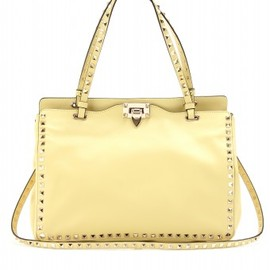 Valentino - SMALL LEATHER ROCKSTUD TOTE