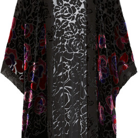 ANNA SUI - Rose-patterned burnout velvet kimono-style jacket