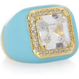 Kenneth Jay Lane - Enameled 18-karat gold-plated cubic zirconia ring