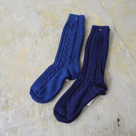 VOO - INDIGO CABLE SOCKS #DARK INDIGO, LIGHT INDIGO