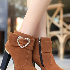 shoes - Image of [grzxy61900151]Heart-shaped Buckle Sweet Fashion Block High Heel Ankle Martin Boot