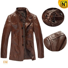 CWMALLS - Classic Brown Leather Trench Coat CW880073 - CWMALLS.COM