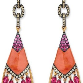coral drop earrings with rubies, diamonds, and pink sapphires