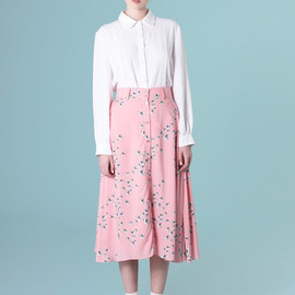 THE WHITEPEPPER - Button-through Midi Skirt in Floral Print