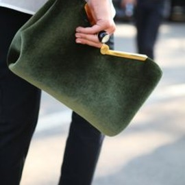 EMPORIO ARMANI - Green velvet clutch. fall2013