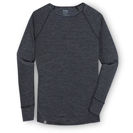 ibex - Ms Woolies 150 Crew Stripe Stripe-Black/Med Heather Grey
