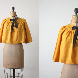1950's mustard bow blouse