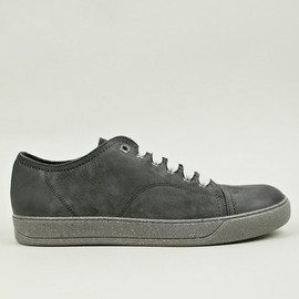 LANVIN - Men's Fleck Sole Grey Nubuck Low-Top Sneakers