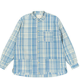 Porter Classic - Hand Work La Mer Check Shirt Jacket-Blue