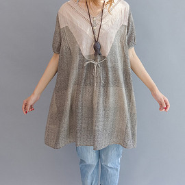 dress - Cotton doll dress Women cotton blouse  Long shirt