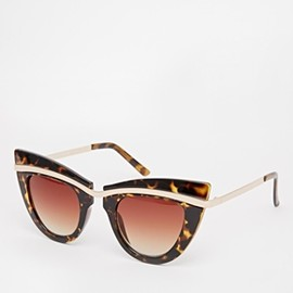 asos - Image 1 of ASOS Cat Eye Sunglasses With Metal Top And Built Up Highbrow