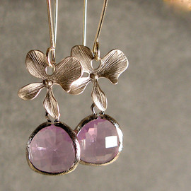 ilexiadesigns - Lavender Glass Blossom Silver Bridesmaid Earrings, Silver Earrings, Wedding Earrings (2347)
