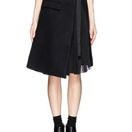 sacai - PLISSÉ PLEAT CHIFFON FELT WRAP SKIRT