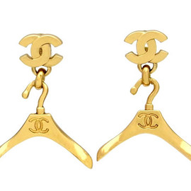 CHANEL シャネル - Vintage Chanel stud earrings CC logo hanger dangle