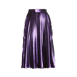 GUCCI - Resort 2016 Metallic silk-blend pleated midi skirt